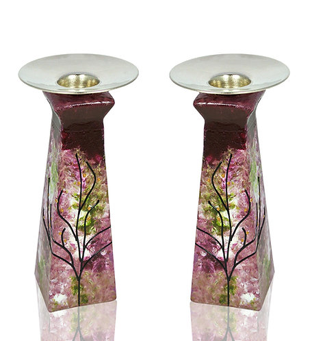 Rose Green Pyramid Shape Candle Holders Set
