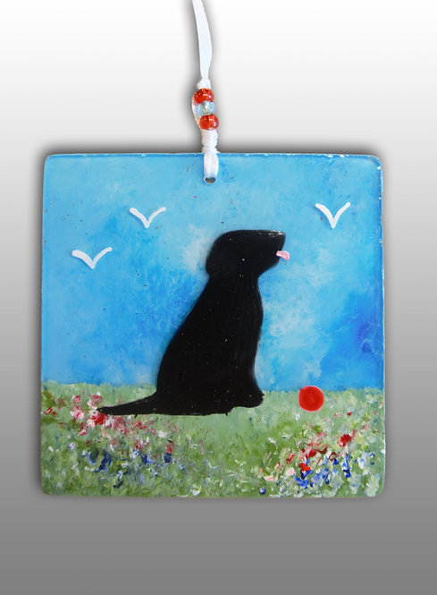 glass painted black dog wall art
