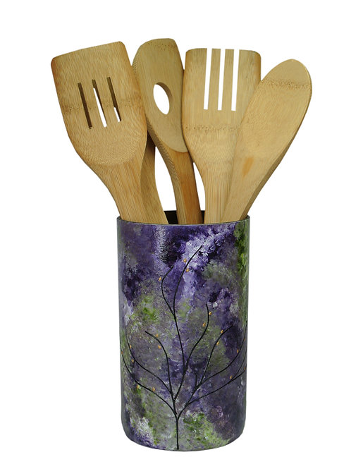 Kitchen Utensil Holder Purple Green