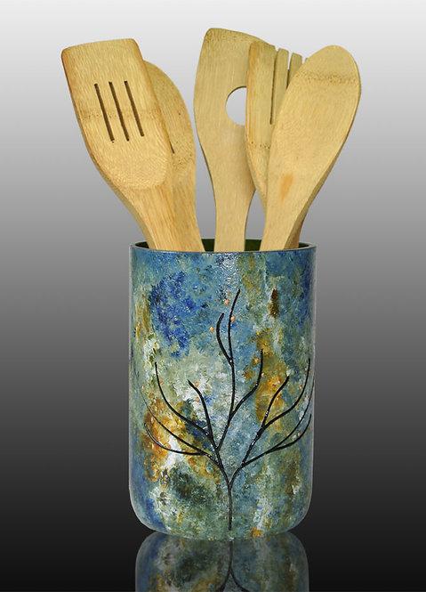 Kitchen Utensil Holder, Blue Amber White