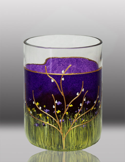 glass painted blueberry purple drinking glass with tree
