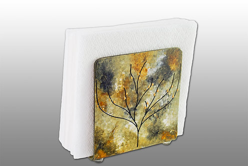 black amber glass painted napkin holder with tree