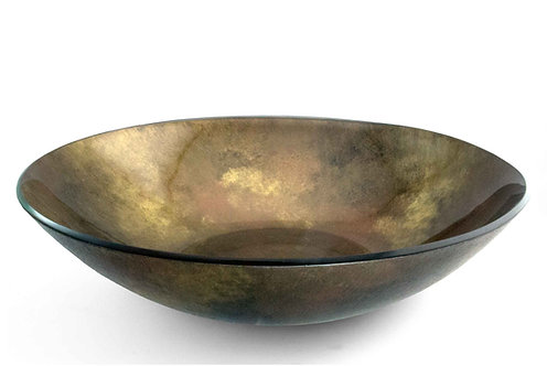 10 inch round Serving Bowl, Copper, Gold, Black