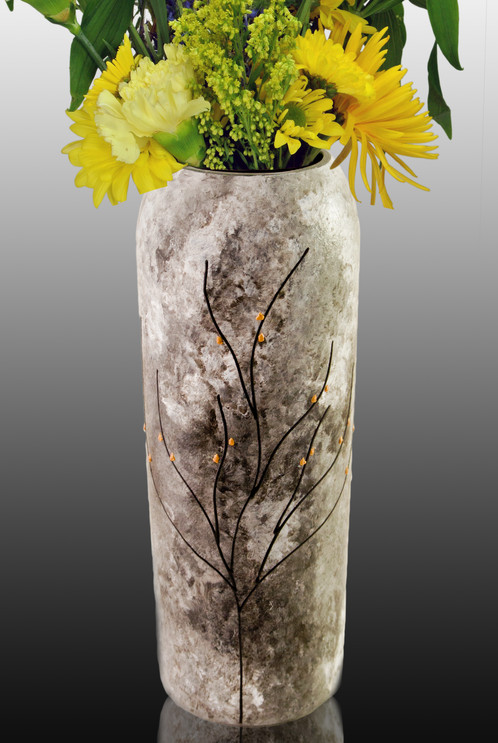 Flower vase modern functional painted glass sand water our flower vases are handmade from repurposed wine bottles they are fully painted with our color blends and finished with our signature tree of life mightylinksfo