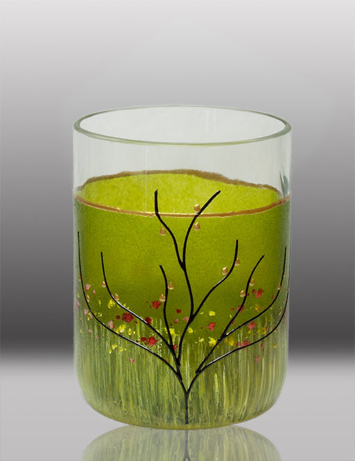 glass painted lime drinking glass with tree