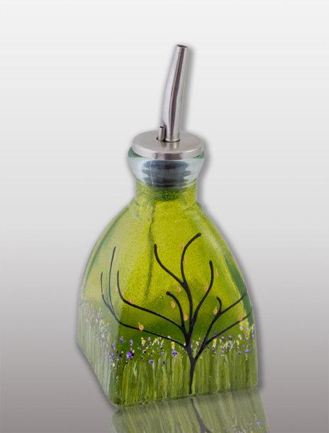 small oil or vinegar cruet glass painted lemon lime with tree