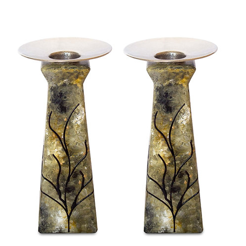 Moss Green Geometric Candle Holder Set