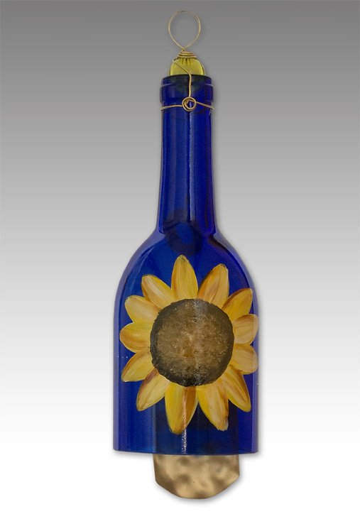 glass painted wind chime sunflower