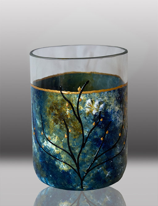 glass painted ocean breeze drinking glass with tree