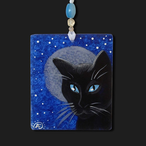 Black Cat Moon Ornament