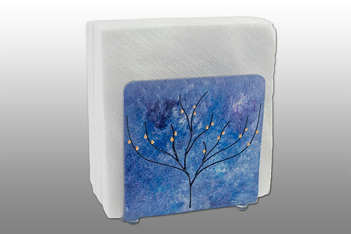 blue purple and silver glass painted napkin holder with tree