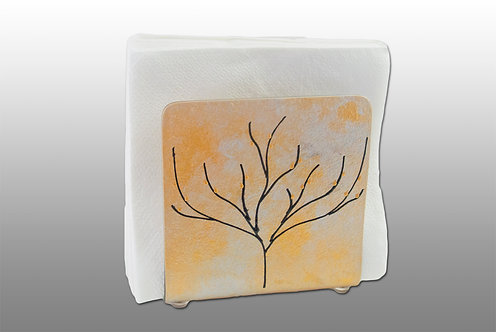 gold and silver glass painted napkin holder with tree