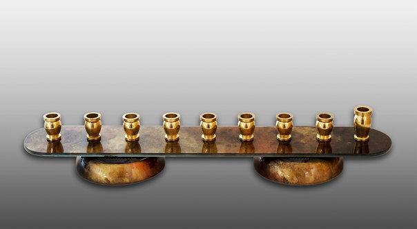 Recycled Glass Menorah in Copper and Gold Tons