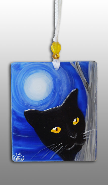 Glass Hand Painted Hanging Wall Art Black Cat