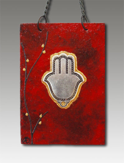 hamsa blessing glass painted red velvet