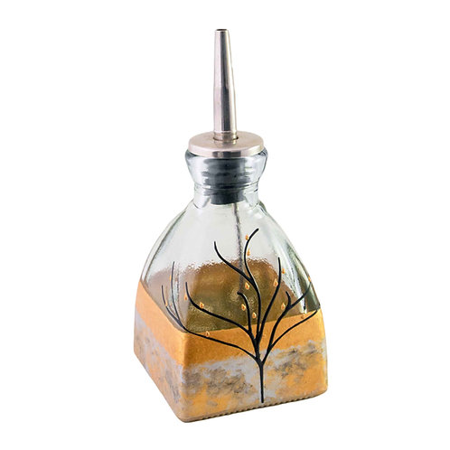 Oil or Vinegar Cruet In Luster Shades of Gold & Silver and Black