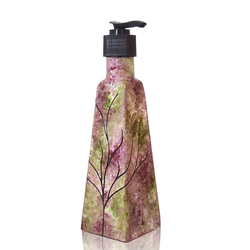Impressionism Style Soap Dispenser w/ Black Pump Rose Green - 6 Ounce