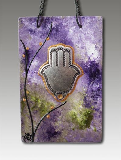 Hamsa blessing glass painted lavender