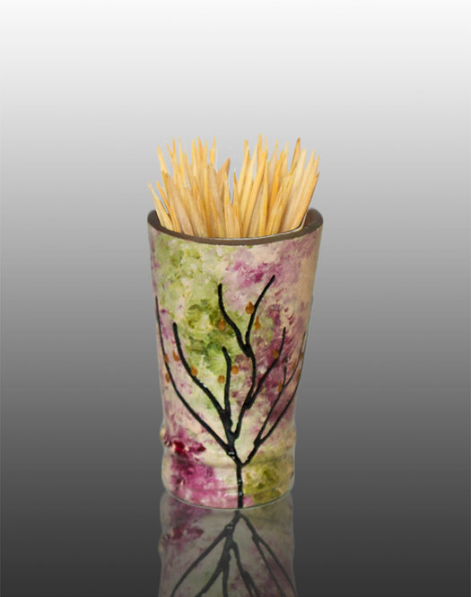 pink green white glass painted toothpick holder with tree