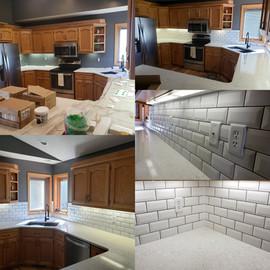 before and after ceramic tile backsplash