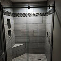 Tile Shower With Niche and Accent Strip