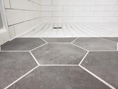Curbless ceramic tile shower floor