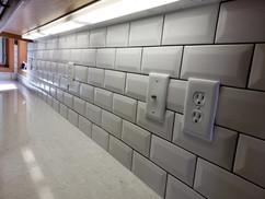 White Beveled Subway Tile Backsplash