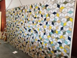 Junkyard Geometric Tile Wall