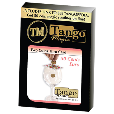 Two Coins Thru Card (E0016) (50 cent Euro) by Tango