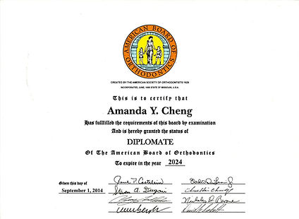 Diplomate of the American Board of Orthodontics for Dr. Amanda Cheng