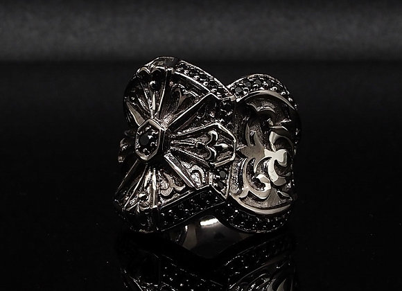 Silver Cross Baroque ring