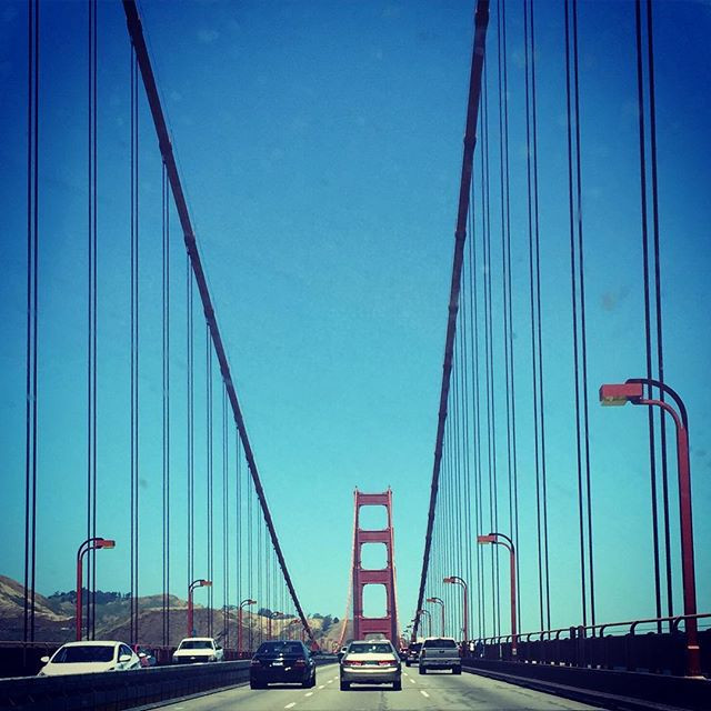 Driving across the Golden Gate Bridge