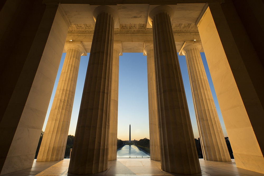 The view of the Reflecting Pool and Washington Monument from the Lincoln Memorial.