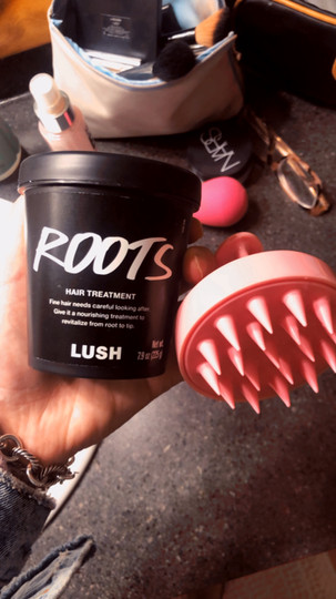 Roots is a hair treatment by LUSH. I leave it on for 20 minutes, massage my scalp with the scalp brush pictured above (purchased off of Amazon) and then rinse.