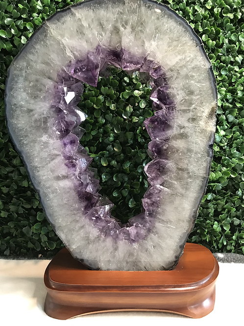 Amethyst Geode Slice Ring on Wooden Stand 4.45kg