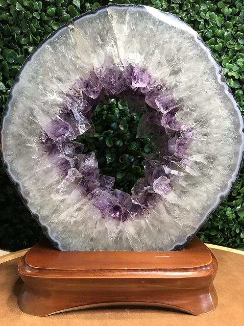 Amethyst Geode Ring on Wooden Base 3.3kg