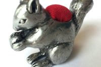 Squirrel pewter pincushion