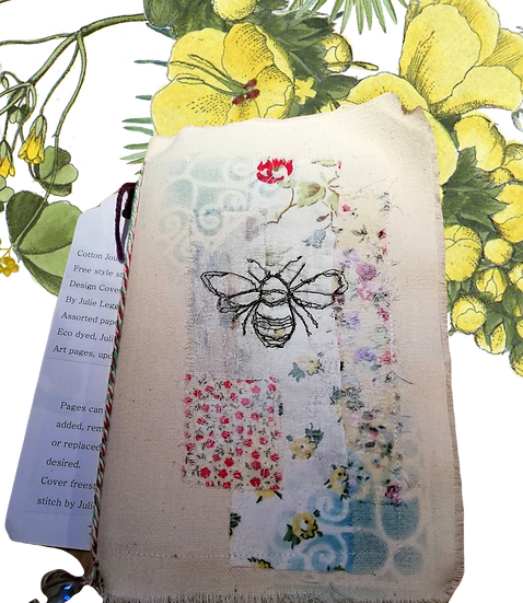 Fabric journal with mixed media and stitch