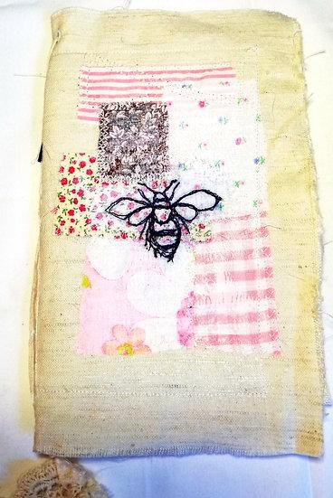 Fabric slow stitch/Journal/Raw silk