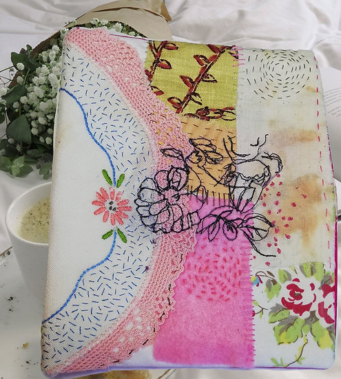 Fabric slow stitch and freestyle stitch cover/Journal
