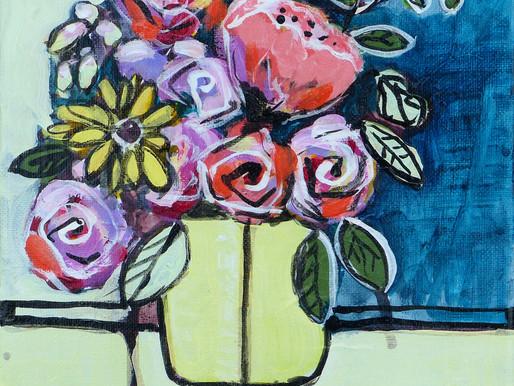 Enjoying painting flowers