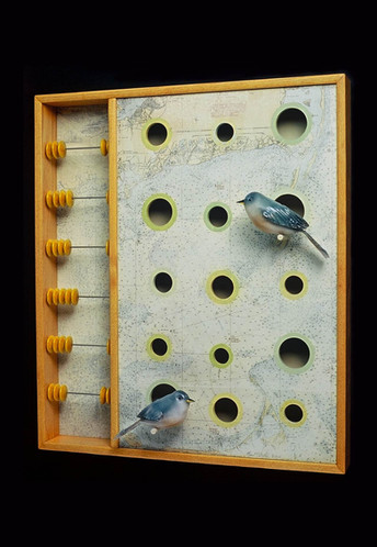 """Blown and hot-sculpted glass birds, flameworked glass beads, mixed medium. 20""""h x 18""""w x 4""""d- 2003"""