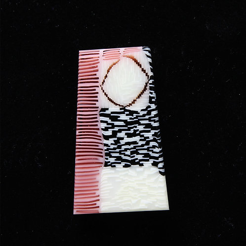 Pink Keystone Stick Pin Brooch