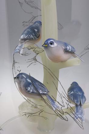 Bluebirds and Cowbirds Detail