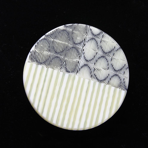 Oval and Striped Circular Brooch