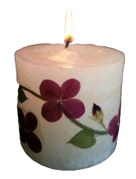 pressed flower candle by Vermont artist