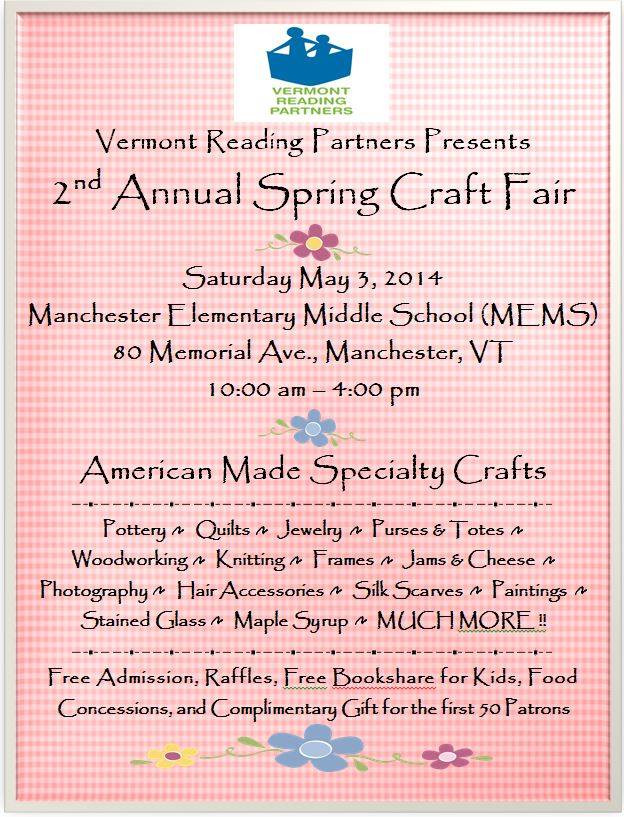 Flyer for Vermont Reading Partners Spring Craft Fair