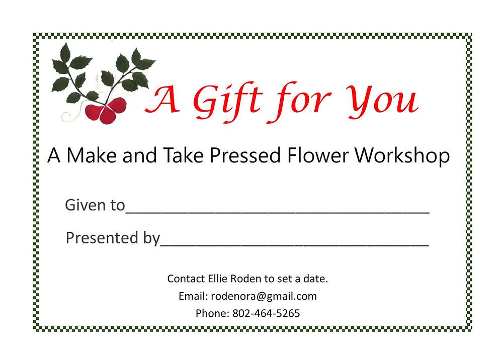 pressed flower workshop gift card