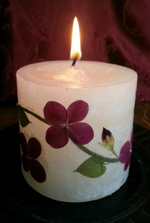pressed flower candle by Vermont Pressed Flowers