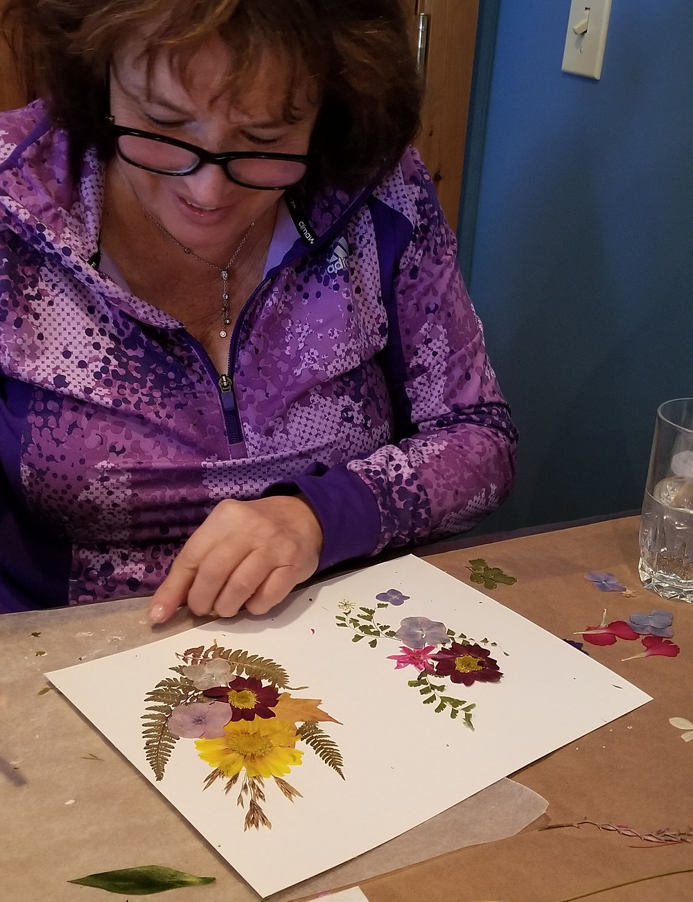 learning to press flowers for cards